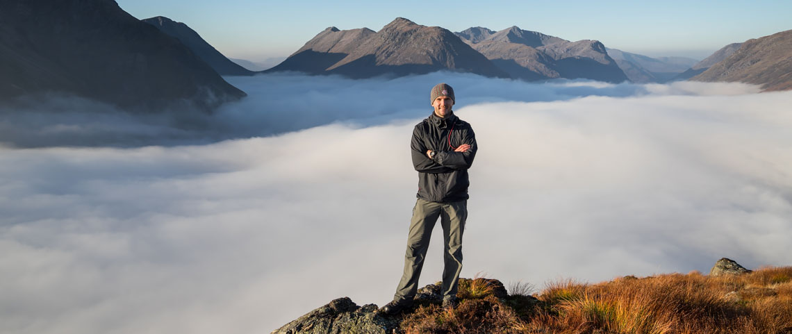 Simon Baxter above the clouds in Scotland